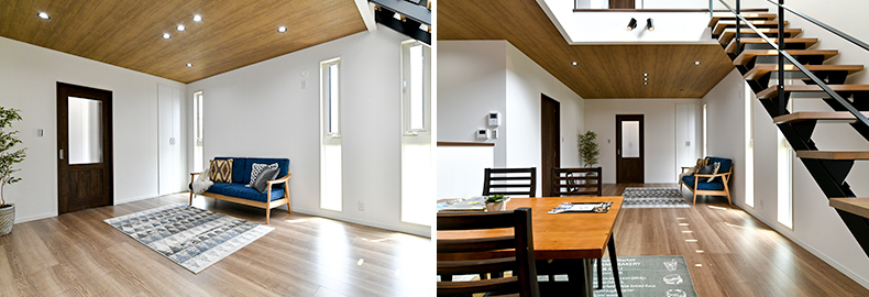 テクノホームヤマト 施工実績 天井の高いリビングに似合う縦長の窓は、たっぷりの採光を確保
