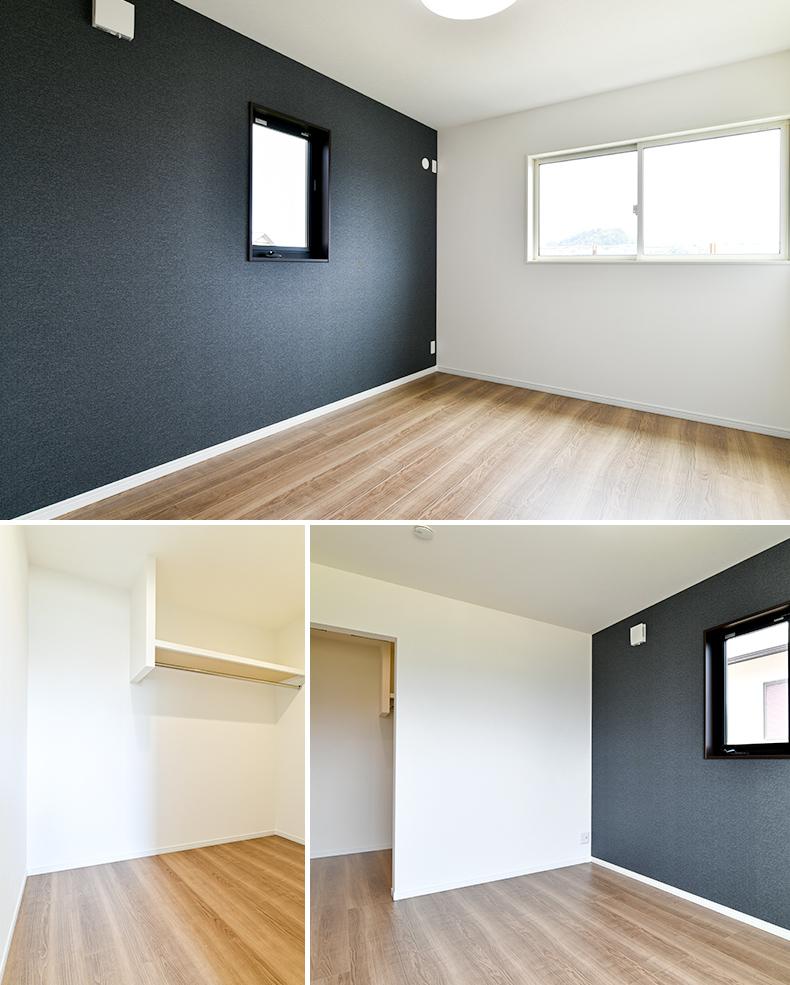 テクノホームヤマト 施工実績 落ち着いたダークカラーのアクセントクロスで寛ぎ感を創出した居室