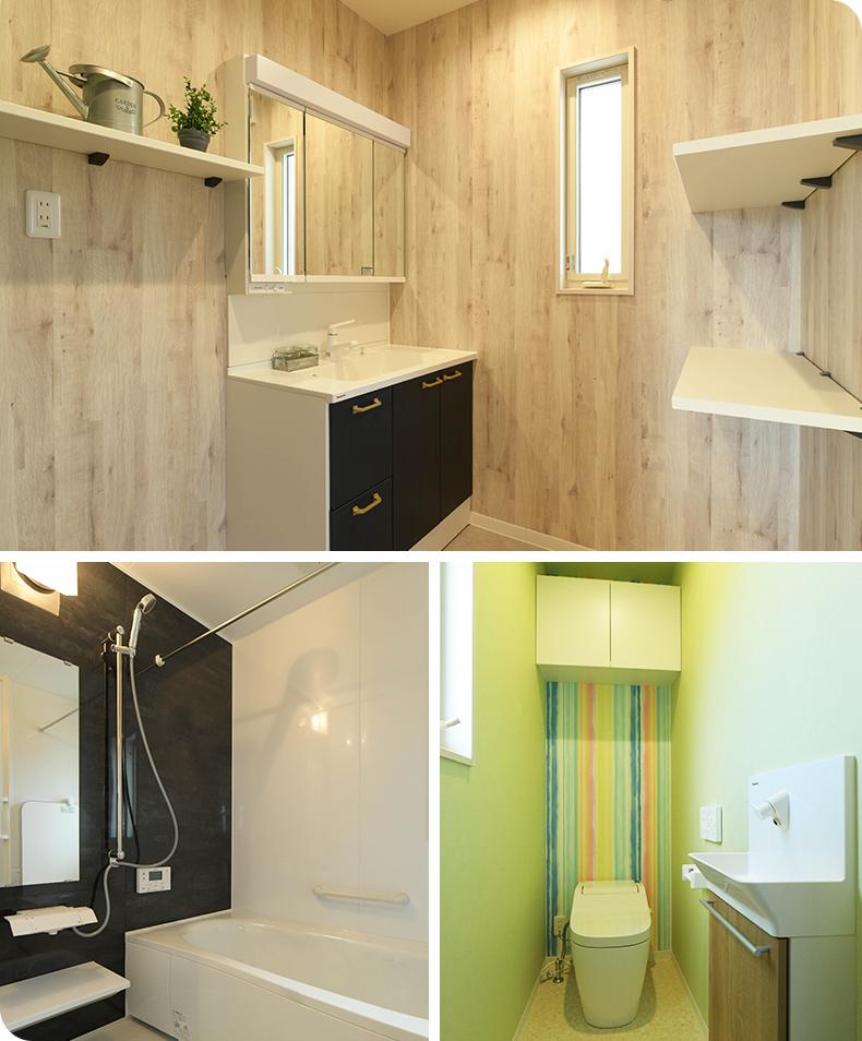 ホワイトの壁がピュアな印象の洗面室